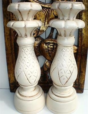 BALINESE SET 2 SHABBY CHIC ANITQUED WHITE CARVED WOOD CANDLE STICKS HOLDERS BALI