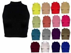 WOMENS-LADIES-SLEEVELESS-POLO-TURTLE-NECK-STRETCH-CROP-VEST-TOP-SIZE-8-14