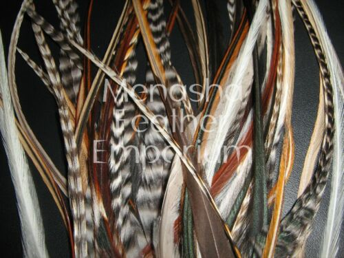 50XL avec peluches naturelle Grizzly 100/% Whiting//saddle Feather Hair Extensions T17