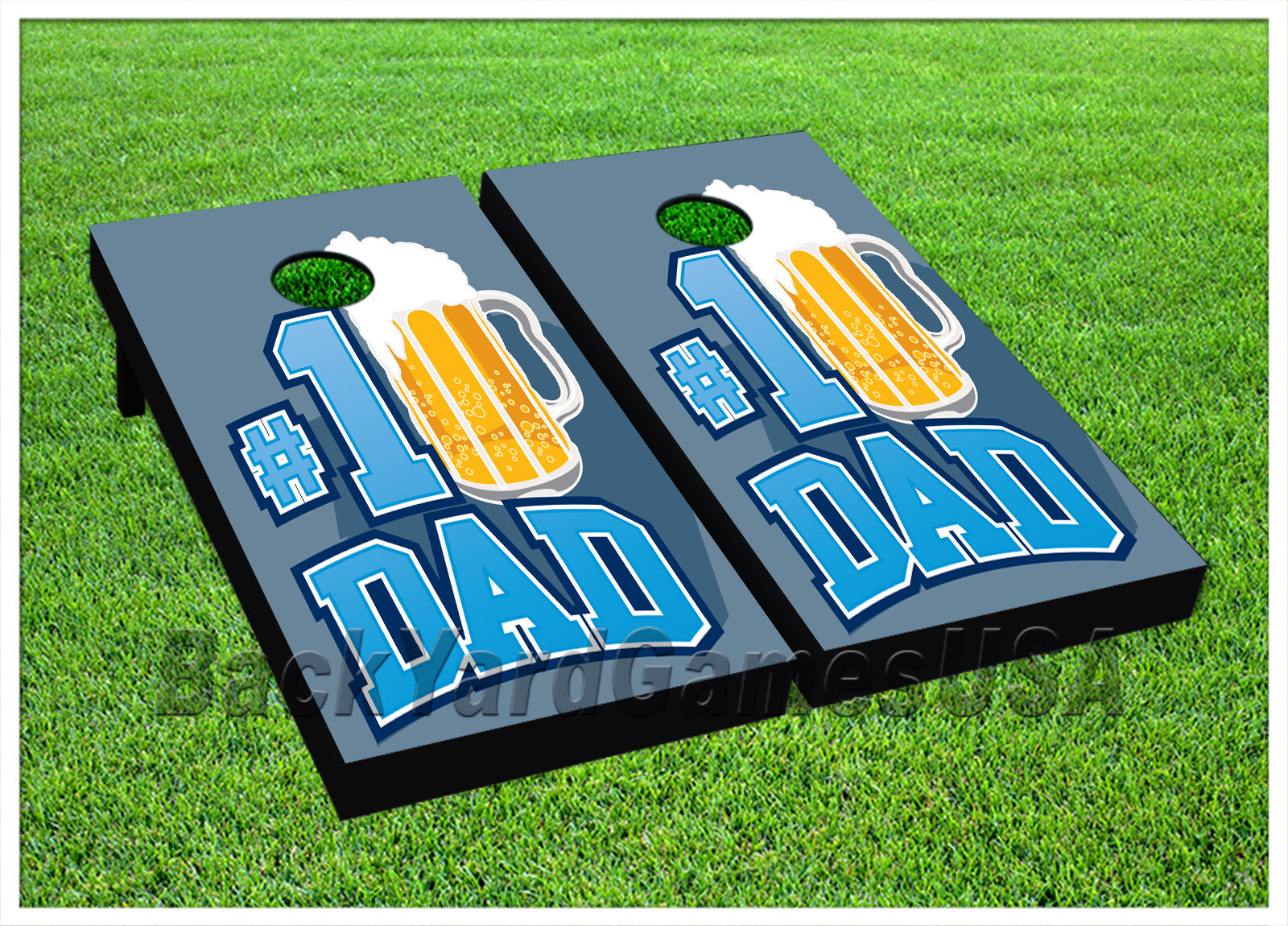 VINYL WRAPS CORNHOLE BEANBAG Fathers Day Number One Dad blueee Boards 935