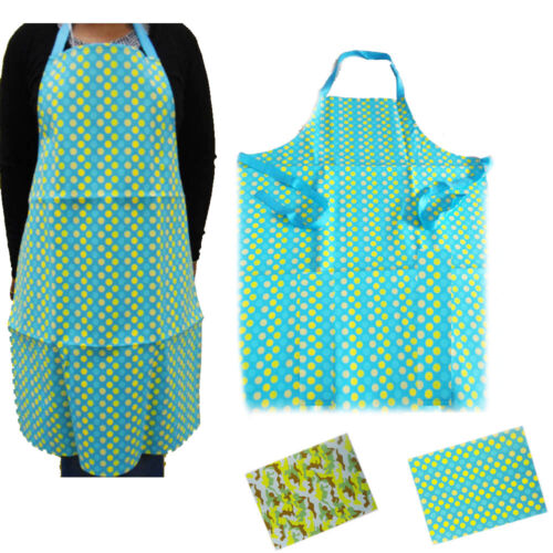 Apron Kitchen Bib Vinyl Waterproof Chef Butcher Cooking Catering Printed Adult