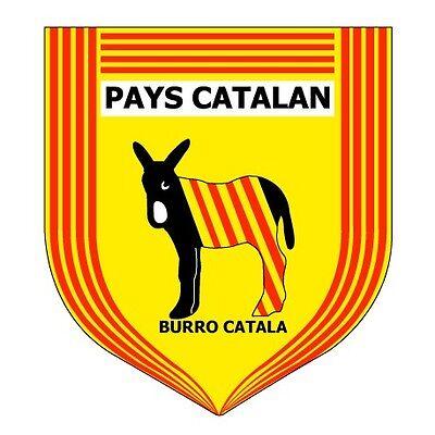 Ane burro couleur catalan autocollant plaque blanc 17 cm