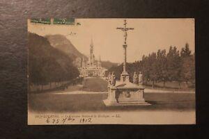 Tarjeta-Postal-Antigua-CPA-Lourdes-El-Calvario-Breton-y-La-Basilica