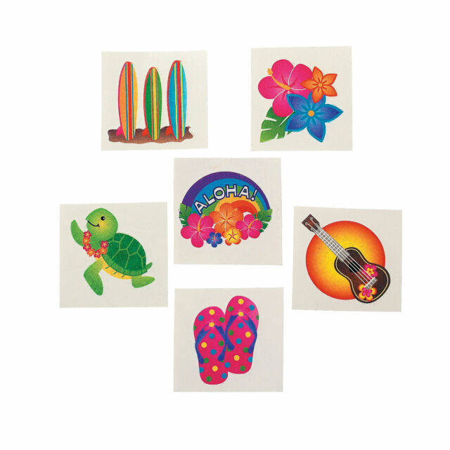 3 Dozen TROPICAL Glitter LUAU TATTOOS 36 Kids Fun Party Favors New