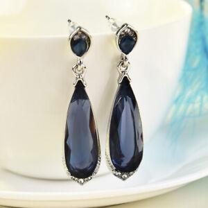 Women-Fashion-Blue-Gems-Water-Droplets-Dangle-Earrings-925-Silver-Jewelry-Gift