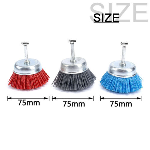 "1//3Pcs 3/"" Abrasive Wire Brush 80-240 Grit Nylon Cup Polishing Wheel 6mm Shank"