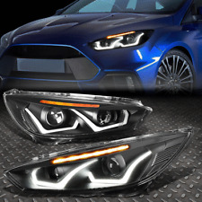 Led Dual Halo For 2017 Ford Focus Black Amber Projector Headlight
