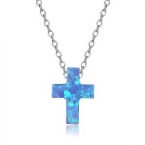 Damen-Kette-Halskette-mit-Kreuz-Cross-Anhaenger-aus-synthetischem-Opal-blau