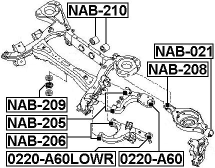 Suspension Control Arm Bushing Rear Lower Febest Nab 206