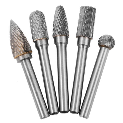 """5x Tungsten Carbide Burr 1//4/"""" 6mm Rotary Cutter CNC Engraving CED 10mm Front-End"""