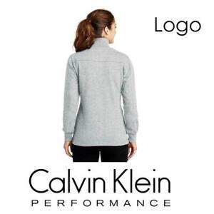 Calvin-Klein-Performance-Logo-Fleece-Jacket-1-2-zip-Women-039-s-Grey-PFST1896-M