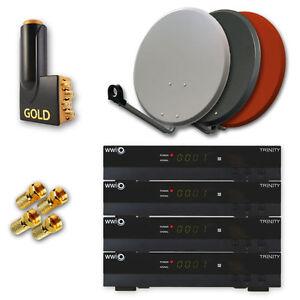 HD-TV-Sat-Anlage-mit-4-Receiver-4-Teilnehmer-WWIO-TRINITY-LNB-HDMI-NEU