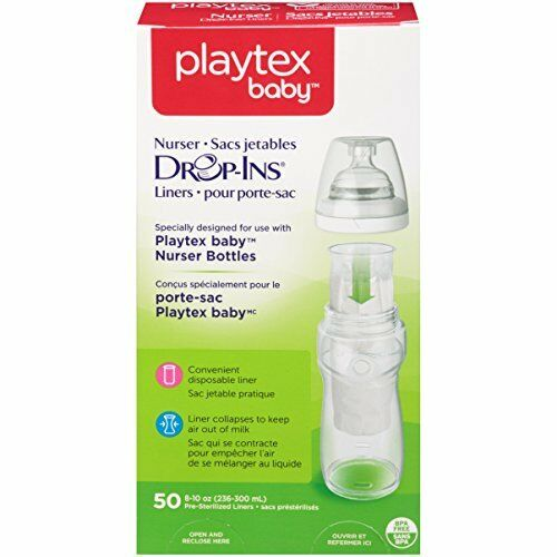 50 Each Playtex Baby Drop-Ins Pre-Sterilized Disposable 8 Ounce Liners 2 Pack