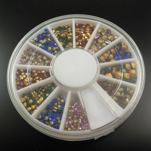 1 Box Assorted Color Size Point Accesssory Rhinestone Beauty Jewelry 2/2.5/3 mm