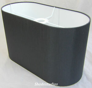 Hand Made Flat Sided Oval Lampshade With Charcoal Satin