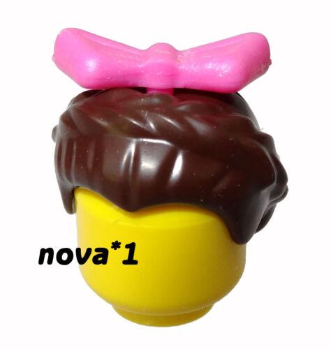 LEGO PINK BOW TIARA BROWN HAIR FOR FEMALE GIRL PRINCESS  LEGO MINIFIGURE NEW