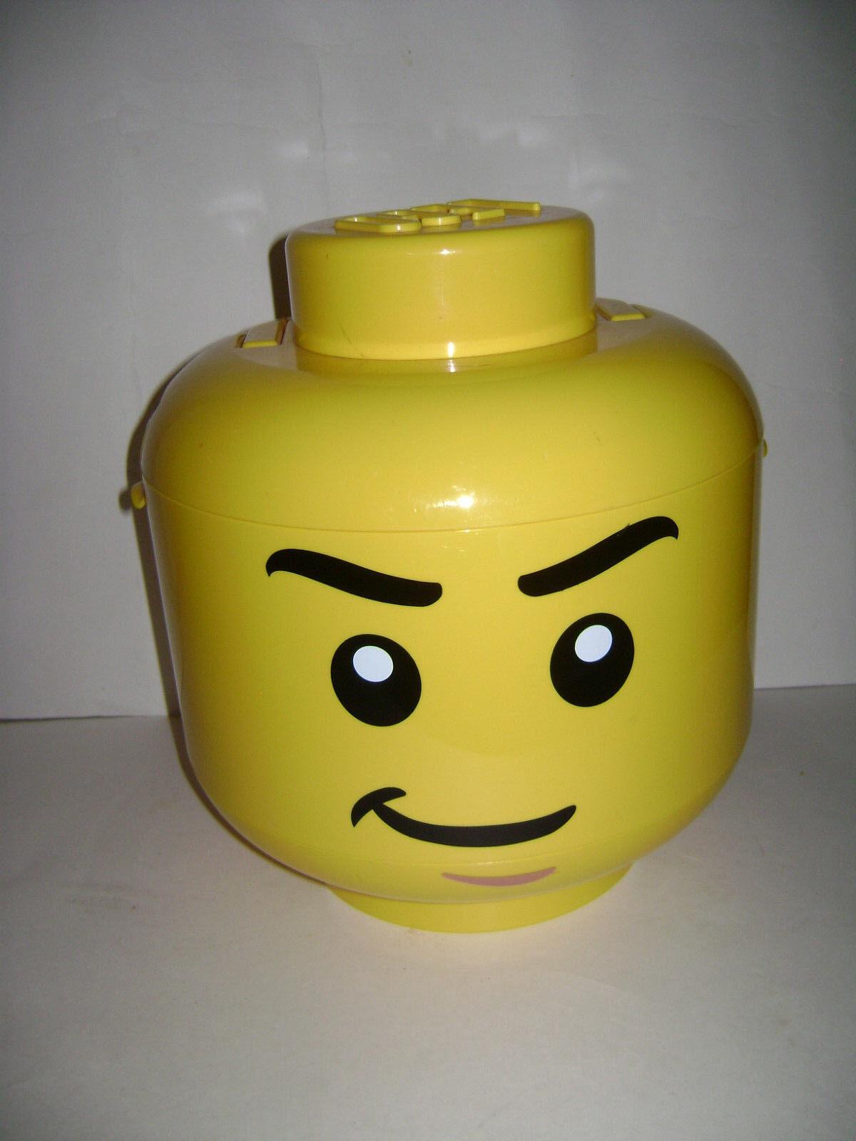 LEGO 2010 Sort Store Sorter Large Gelb Storage Head Bin w/ Grids CASE RETIROT