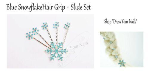 Bobby Pin Set  Elsa Frozen Clear//Blue Rhinestone  HSS-655 Snowflake Hair Slide