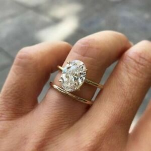 2 00ct Oval Diamond Solid 10k Yellow Gold Solitaire Engagement Wedding Ring Set Ebay
