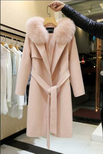 Luxury Women New Winter Warm Outwear Hooded Faux Fur Long Jacket Coat Belt Parka