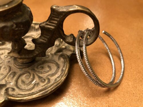 Grand Zircone Cubique Cerceau Argent Sterling 925 Boucles d/'oreilles 20/% Fait Don à une Oeuvre Caritative