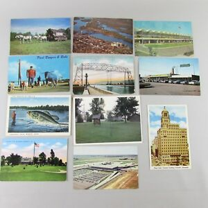 VTG-Lot-of-11-Postcards-Minnesota-Mid-Century-Bunyan-Duluth-Minneapolis-airport