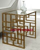 Horchow Lovelace Iron Asian Side End Table With Inset Glass Top