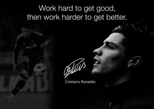 Cristiano Ronaldo 27 Portuguese Professional Footballer Motivational Poster B/&W