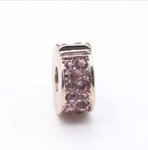 Rosa elegancia Brillante Clip Encanto plateado en color oro rosa 925 pulseras