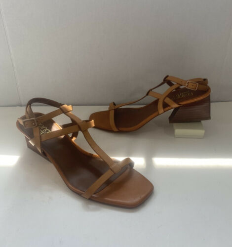 Franco Sarto Brown Leather Strappy Heeled Square t