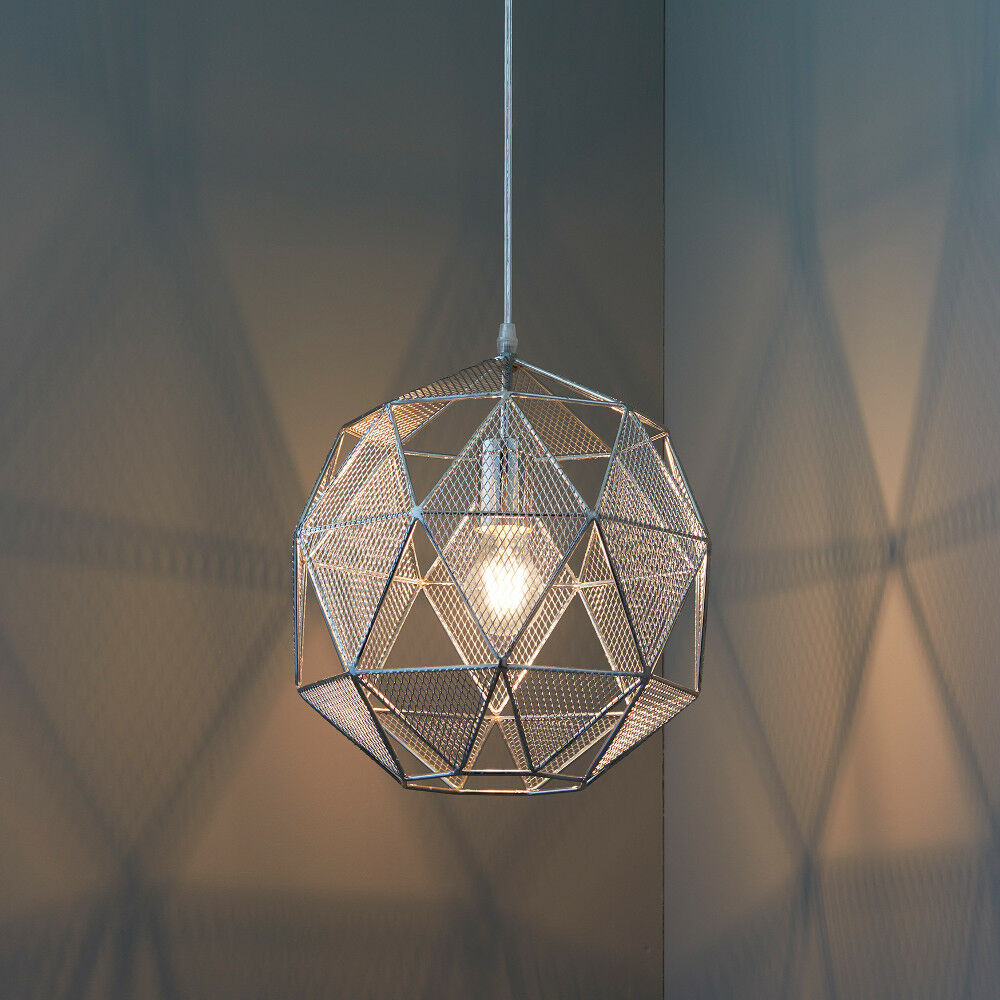 HEX CHROME CAGE LED PREMIUM PENDANT LIGHT FOR KITCHEN BEDROOM MODERN DESIGN