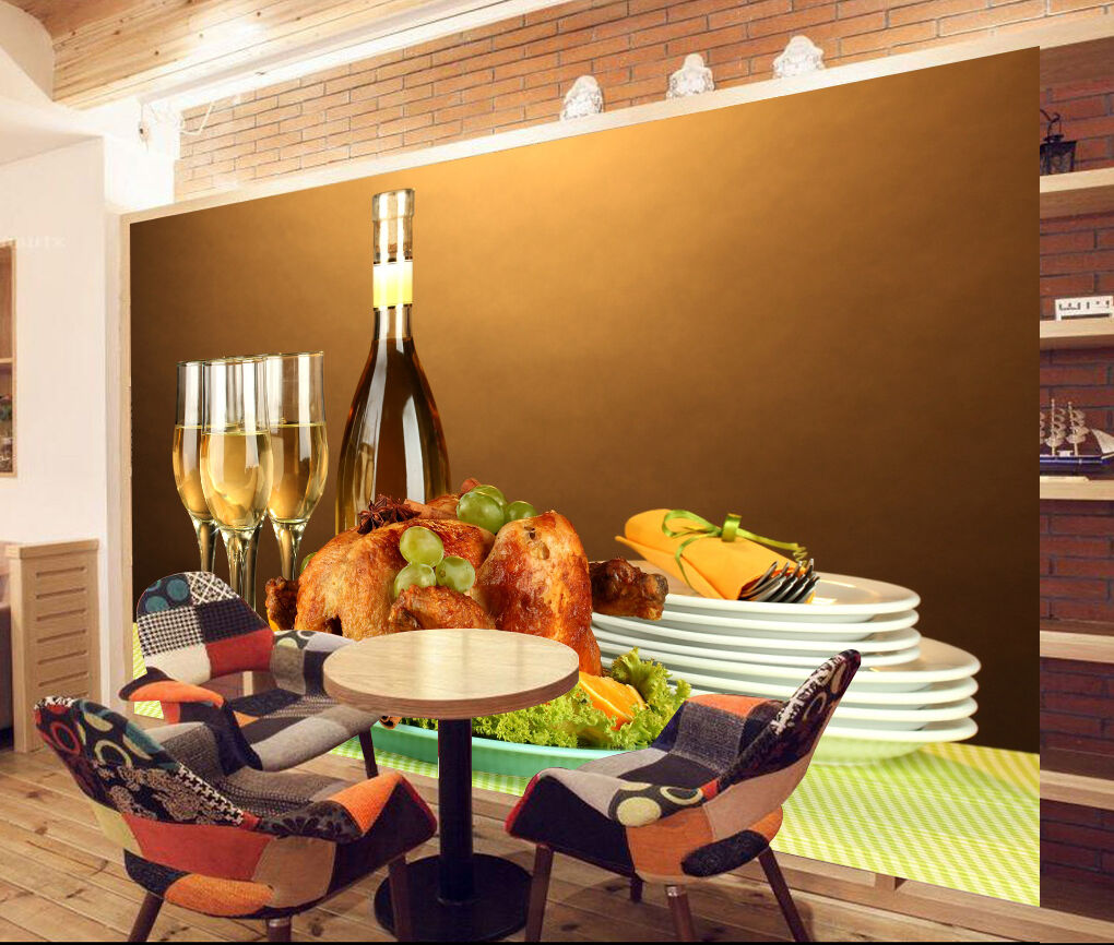 3D Turkey Champagne 1045 Paper Wall Print Wall Decal Wall Deco Indoor Murals