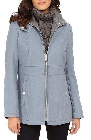 Kenneth Cole 175KM961 Dusty Shale Zip Front 2-Tone Wool Coat w Side Seam -