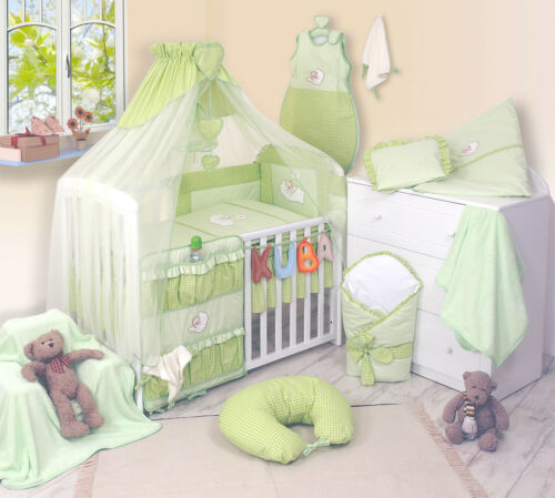 Luxury 3-5-7-8-9 pieces  Embroidered Baby Canopy Bedding Set For Cot Cot Bed