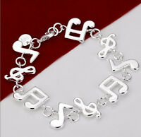 Classic Music Note Jewellery 925 Sterling Silver Charm Bracelet Bangle Xmas Gift