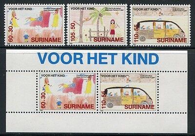 Surinam 1989 Kinderzeichnungen Childrens Drawings 1317-19 Familie & Soziales Bl.52 ** Mnh Briefmarken