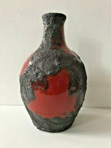 Marei Roth Keramik Vase Fat Lava rot schwarz WGP 22cm Form 4100