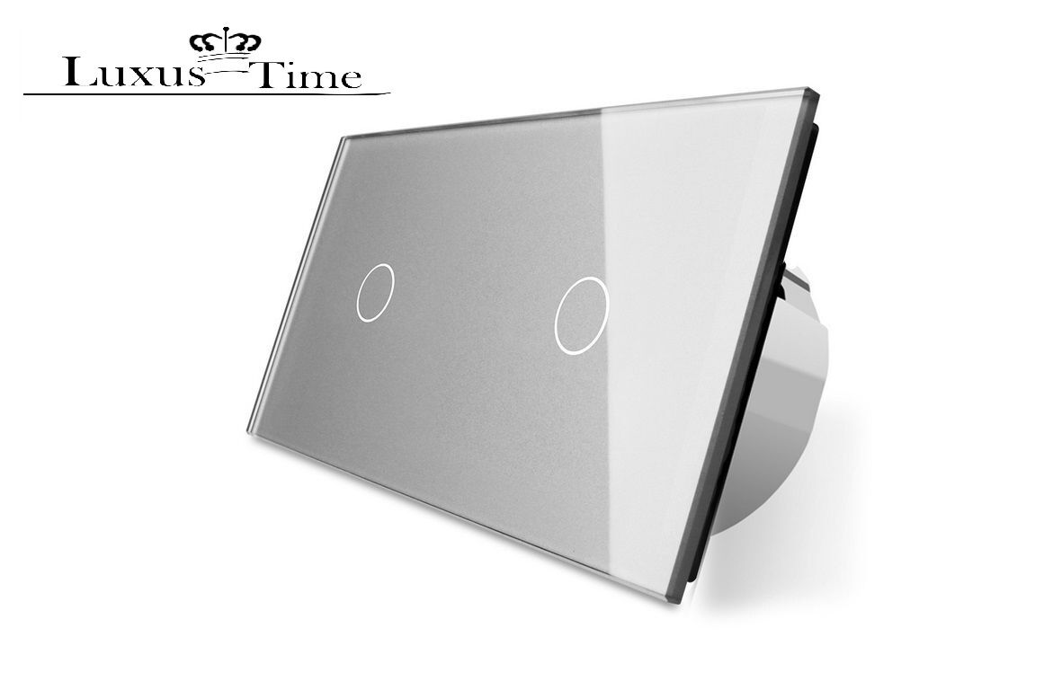 Design Glas Touch Lichtschalter Doppelt Ein Aus C701 C701-15 Grau LIVOLO | Helle Farben
