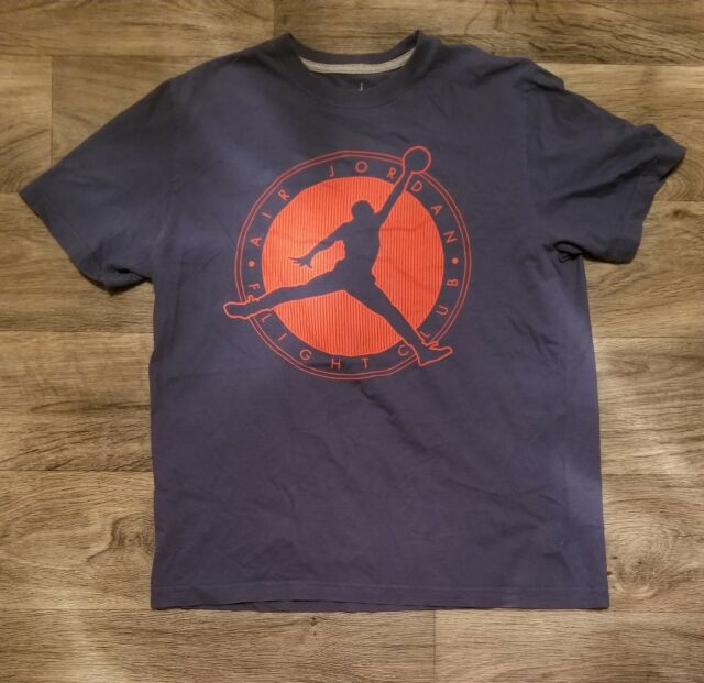 67115104c11 Nike Air Jordan Blue Jordan Big Logo Jumpman 23 Flight Club T Shirt Size  Large