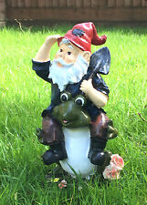 Small Garden Gnome Frog Statue Ornament Patio Flowerbed Decoration (No. 4)