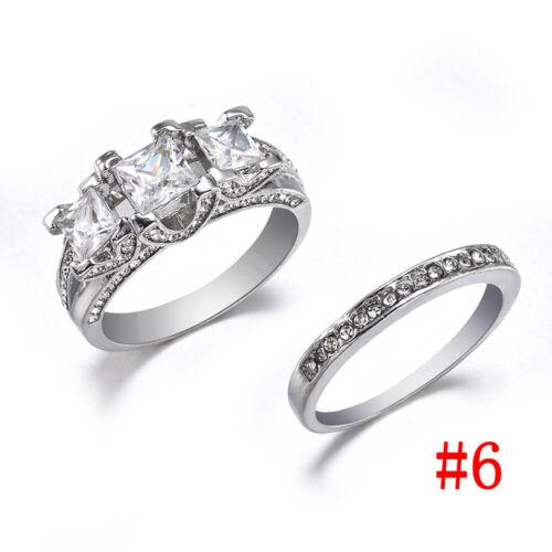 925 Silver White Sapphire Love Wedding Ring Set Women Engagement Jewelry Sz5-12