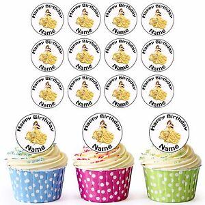 Disney Princess Belle 24 Personalised Precut Edible Cupcake
