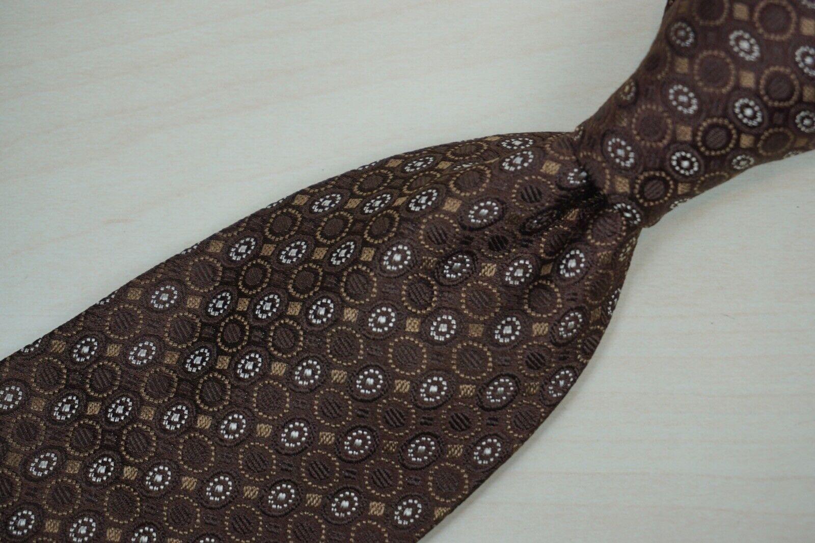 A. Sulka & Firma Brown Gewebt Geometrisch Seide Vintage Krawatte