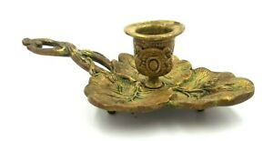 Antique Victorian Hand Held Candle Holder Aesthetic Movement Ornate Brass Leaf