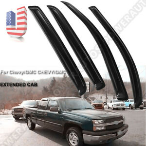 Window-Visor-Sun-Rain-Guard-Vent-Shade-For-Chevy-GMC-EXTENDED-CAB-Set-of-4