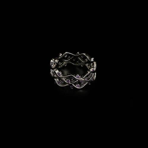1Pc Silver Hollow Out Tanzanites cristaux Anneaux Mariage Band Wave Anneaux Bijoux
