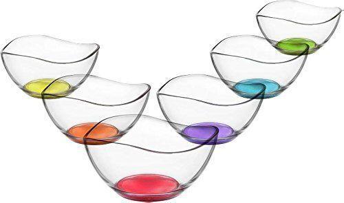 6pc Service Plat alimentaire Salade de fruits dessert en verre transparent Bowl Table de cuisine Vira