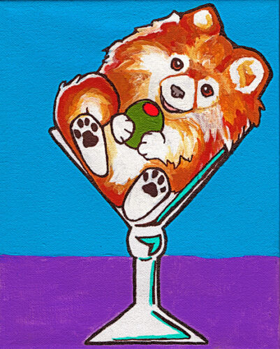 8x10 POMERANIAN MARTINI GLASS Signed Dog Art PRINT of Original Painting by VERN