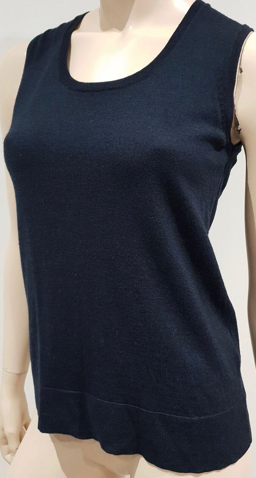PAULE KA Navy Blau 100% Wolle Sleeveless Fine Knitwear Tank Vest Jumper Sweater M