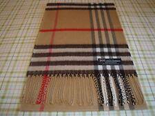 100% Cashmere Scarf Camel Black BIG NOVA CHECK TARTAN Plaid Scotland WOOL A55